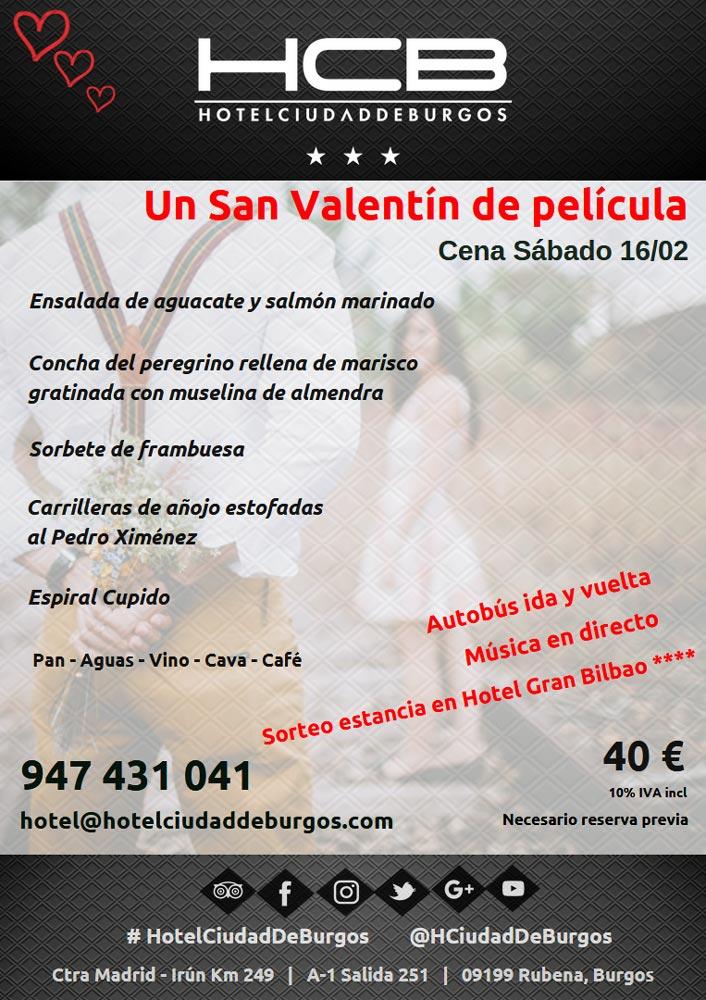Cena de San Valentín en Burgos, Hotel Ciudad de Burgos